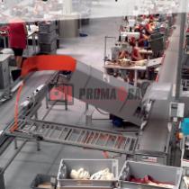 Transportador semiautomático para organizar el departamento de costura.